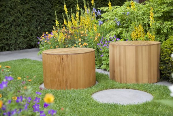 Round seat designed by Adam Frost, Chelsea Flower Show 2015