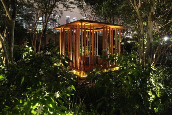 Adam Frost's Singapore Flower Show garden by night