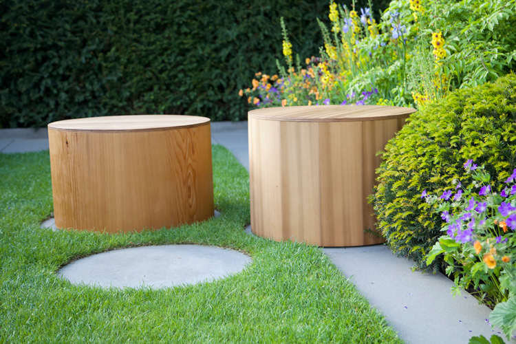 Round seats designed by Adam Frost, Chelsea Flower Show 2015